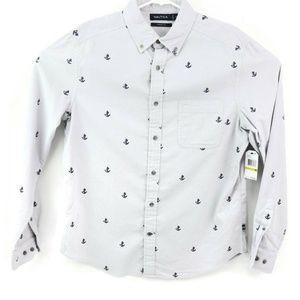 Nautica Mens Button-Down Shirt Mist Grey Blue Anch